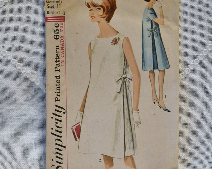 Vintage Simplicity 5271 Sewing Pattern Crafts Misses Maternity Dress Size 11 DIY Sewing Crafts PanchosPorch