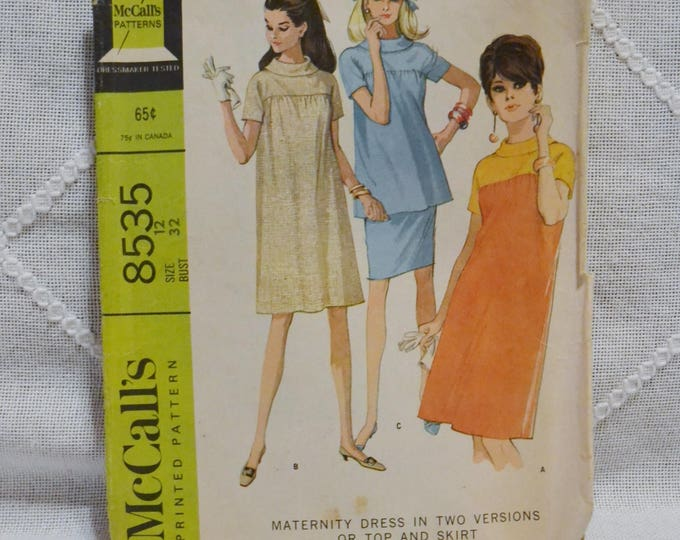 Vintage McCalls 8535 Sewing Pattern Misses Maternity Dress Top Skirt Size 12 Crafts  DIY Sewing Crafts PanchosPorch