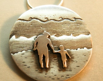 Personalized pendant from a photo. Happy moment. Waves