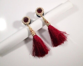 Red Gems with Tassels Dangle Plugs - Available in 4g, 2g, 0g, and 00g