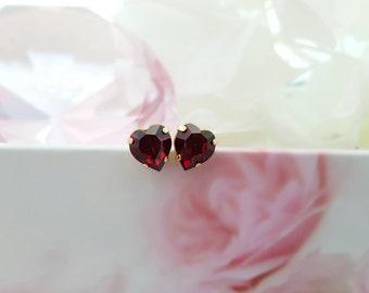 Ruby Red Heart Studs, Swarovski Siam Crystal Heart Earrings, Valentine's Day Gift, Sweetheart Present, July Birthday, Ruby Birthstone, E3437