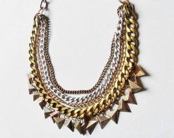 Chunky Bib Necklace Gold And Silver Tone Four String Geometric Pyramid Triangular Amazonian Collar Statement Modernist Jewellery Metallic
