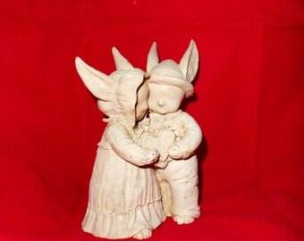 Sweetheart Elves-Rabbits-Fairy Folk-Romance-In Love-Frilly Heart-Long Ears-Couple-Wedding-Vintage Home Decor-Orphaned Treasure-020617G