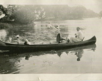Vintage Photo..Music on the Lake, 1920's Original Found Photo, Vernacular Photography