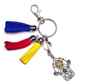 Hamsa Keychain Leather Tassel Boho Handbag Accessories FREE SHIPPING