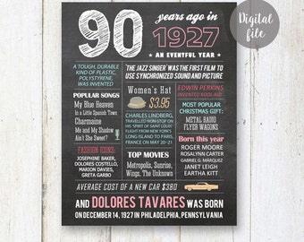 Personalized 90th birthday chalkboard poster - Custom 90th Birthday Gift for grandma or grandparents - Fun facts 1927 - DIGITAL file!