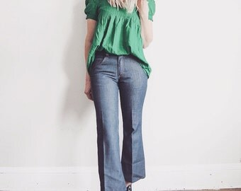 Vintage 70's Sears Put-On Shop Jeans - Perma-Prest - Cropped Flared Denim - Women's Small Medium