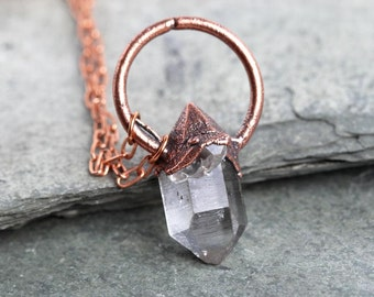 Crystal Necklace Herkimer Diamond Pendant Copper Chain Electroformed Copper Minimal Jewelry Quartz Rustic Pendant
