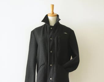 Black NZ wool parka jacket. Black wool coat. Black sailors coat. Warm wool mens coat. Tusk wool coat. Hunting jacket. Wool anorak. size S