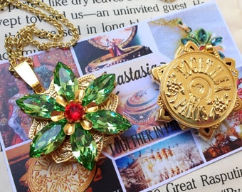 """Anastasia """"Together in Paris"""" Necklace with Swarovski Crystal Peridot Green Ruby Replica Handmade Flower Charm 16K Gold Cosplay"""