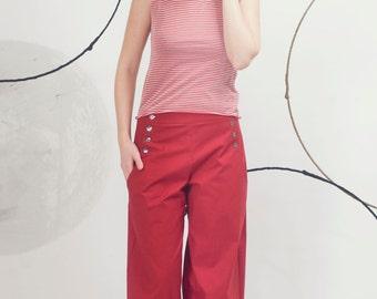 Art 32/17 Pantalone Bulbo. Sartorial, Made in Italy,Handmade, Atelier,Summer, Everyday, Wide leg, Trousers