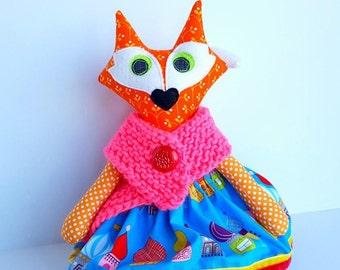 Fox doll, Stuffed animal fox, Plush fox girl, Fabric fox art doll, Cloth toy, Fox decoration, Fox softie toy, Plushie fox, Orange blue fox