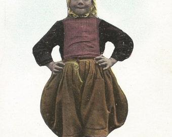 Marken Island Dutch Girl Vintage Postcard. Circa 1900s