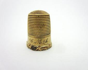 Vintage Simons Bros Thimble Scrolling Filigree Design 14k Yellow Gold 5.8 Grams