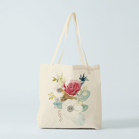 Tote bag. Watercolor, canvas bag, gift women, novelty gift for coworker, cotton tote, shopper bag, flowers bag, congratulations.