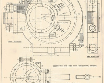 Blueprint drawing etsy eccentric for locomotive machine drawing 1930s vintage industrial print engineering drawings blueprint art plan gift home malvernweather Image collections