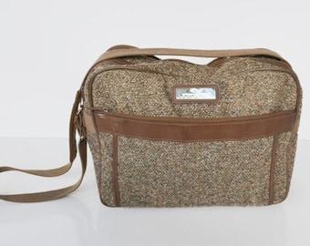 Jordach,Luggage,Carry on, Over night,weekender bag,tote ,Brown, gray, tweed ,1970s,1980s