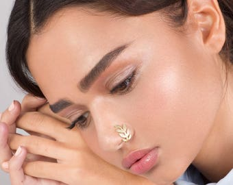 Gold Fake Leaves Nose Ring - Faux Nose Ring , Fake Nose Hoop , Leaves Nose Hoop , gold Fake Piercing , Fake Nose Piercing , Nose Jewelry