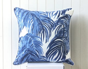 "SALE Blue & white Swaying Tropical Palm Leaf 45 cm - 18"" Designer Cushion / Pillow / Square Cover Beach House Coastal Hampton  + Piping"