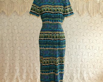 80s 90s Button Up Dress Geometric Tribal Print Fitted Short Sleeve Tea Length Mandarin Collar Small Medium Vintage Clothing Womens Clothing