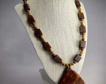 Agate and Jade Necklace with Enameled Pendant