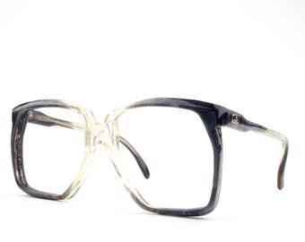 1970s Vintage Eyeglasses | Retro 70s Oversized Eyeglass Frame | NOS Clear & Black Glasses | Vintage Deadstock - Parnu