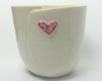 Personalised Heart Cup - Mum - Ceramic Cup for Mum