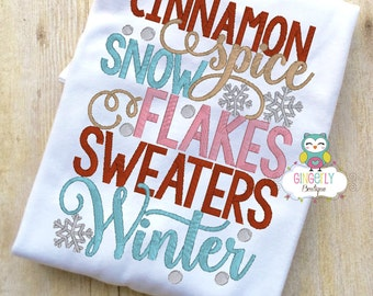 Cinnamon Spice Snowflakes Sweaters Winter Shirt or Bodysuit, Christmas Shirt, Girl Christmas Shirt, Girl Winter Shirt, Girl Holiday Shirt