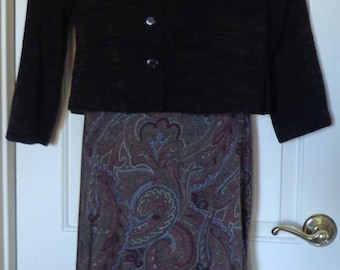 Vintage 2 Piece Maxi Dress By First Option, Brown Maxi Suit Generous size M