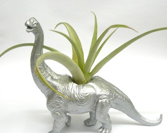 Silver Diplodocus Dinosaur Planter with Air Plant // Coworker Gift // For Her // For Him