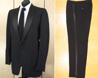Vintage 50's SOUTHWICK Tuxedo Dinner Suit Black Tie Wool Classic Notch Collar Flat Front One-Button James Bond 40 42 44 Made in USA