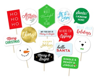 Printable Christmas Photo Booth Props - Modern Photo Props - Holiday Photo Booth - Christmas Signs - Merry and Bright - Photobooth props