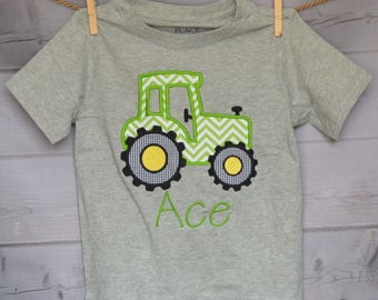 Personalized Tractor Applique Shirt or Onesie Boy or Girl