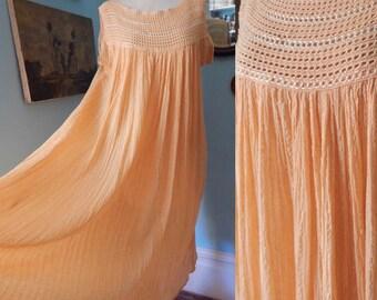 Vintage Greek gauze dress apricot stripe crochet sundress hippie tunic festival wear