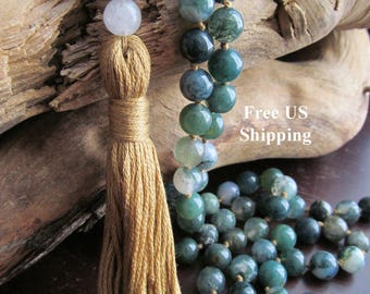 Mala Beads with Moss Agate and Snow Quartz, 108 Bead Mala, Tassel Necklace, Prayer Beads, Yoga Mala, Japa Mala, Meditation, Long Beaded