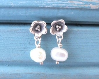 Silver Pearl Drop Earrings, Silver Flower Earrings, Fresh Water Pearl Studs, Silver Studs, Gift For Her, Bridesmaid Earrings