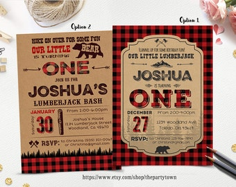 LUMBERJACK INVITATION, Lumberjack first birthday party invitation, Buffalo Plaid Woodland Invitation, Bear Rustic Forest Camping Invite