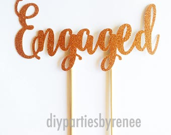 Engaged Cake Topper - Engagement Cake Topper - Assorted Colours - Ring Cake Topper - We're Engaged - Getting Married