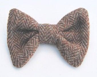 Men's Harris Tweed BowTie, Upcycled Tweed BowTie, Brown Tweed BowTie, Wool Bow Tie, Bow Ties for Men, PreTied Bow Tie, Wedding Bow Tie