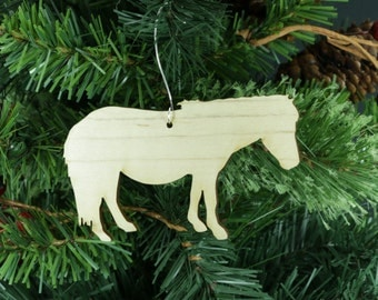 Original Design Shetland Pony Miniature Horse Ornament in Wood or Mirror Acrylic Customizable with Name