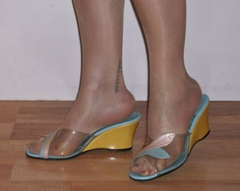 Fab early 1960s multicolour wedges w/clear vamps US 8 / UK 6