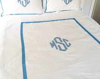Monogram Applique Twin Duvet / Monogrammed Bedding / Sham