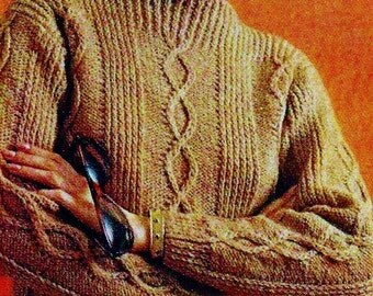 Diamond Cable Pullover Sweater Vintage Knitting Pattern Download