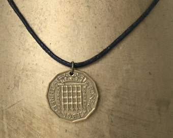 1961 coin necklace, vintage coin pendant, British three penny piece jewelry, waxed cotton cord, 56th birthday, retirement, unusual gift