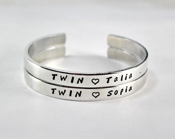 Twin Sisters Name Cuff Bracelet Set, Twin Sisters Matching Pair Bangle Bracelets with Personalized Sister Name and Heart