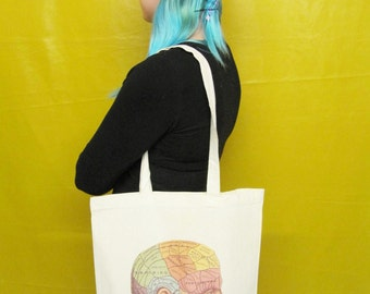 Phrenology Head Tote Bag Canvas Tote Bag Cool Resusable Bag Shopper Bag Geek Book Bag Nerd Science Gift
