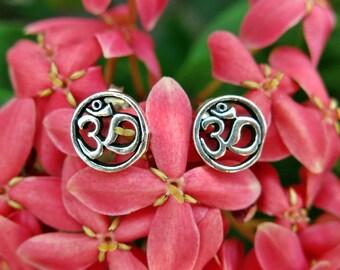 Sterling Silver Om stud earrings - handmade omkara ohm earrings, symbol of the origin of life, meditation yoga spiritual apparel