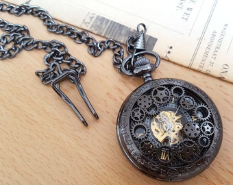 Vintage Style Mechanical Steampunk Pocket Watch, Skeleton Pocket Watch, Victorian Style Bronze Pocket Watch