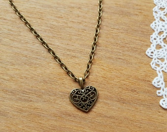 Vintage Style Bronze Tone Heart Necklace, Necklace with Heart, Love Gift