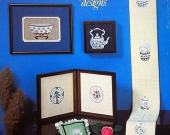 Antique Porcelains From Dobbler Designs Vintage Cross Stitch Pattern Leaflet 1981